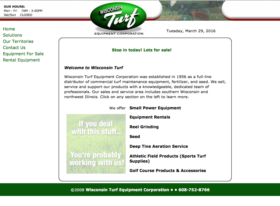 Wisconsin Turf/HTML/Inventory query